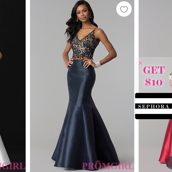 ed1e77f9ac Navy two piece prom dress. M 5b0d2c0f8df47064ae2736e5